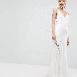 new ASOS SATEN paneled fishtail wedding dress 12